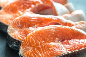 Raw trout steaks
