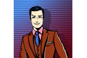 Vector businessman smiling - pop art