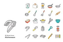 Kitchenware color vector icons