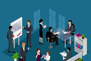 Isometric Business People Design