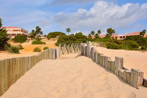 Beach hotel.