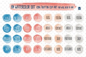 Watercolor Icon/ Button ClipArt +EPS