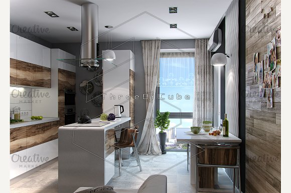 Modern kitchen study, 3d render