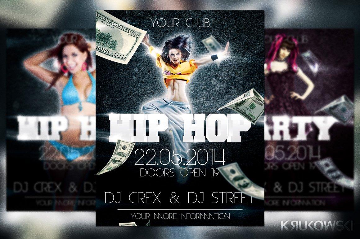hip hop rap flyer flyer templates creative market