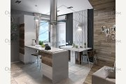 Modern kitchen study, 3d render