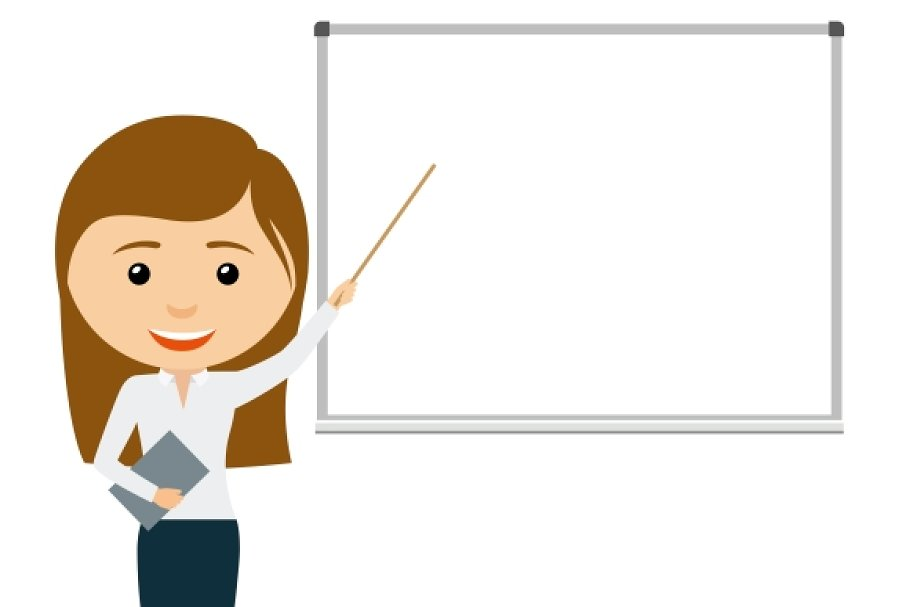 Cartoon Teacher Woman Presentation Pre Designed Illustrator Graphics Creative Market