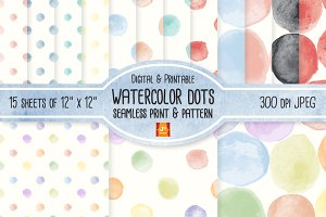 WatercolorDot Seamless Digital Paper