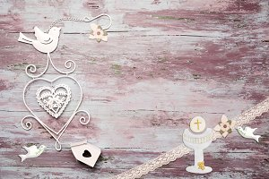 First Communion symbols wooden card