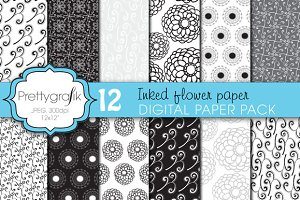 wedding floral digital paper, commer