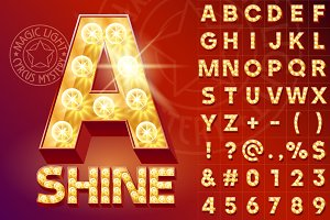 3 Types of light up font with lamp