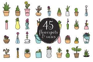 45 flowerpots & vases, homeplants