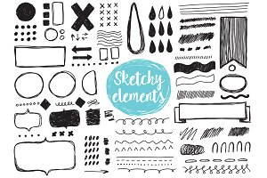 Sketchy elements, brush stokes