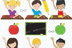 Classroom students clipart