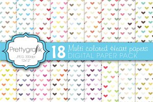 multi colored heart digital paper