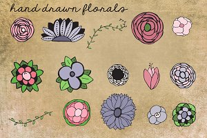 Hand Drawn Floral Clip Art