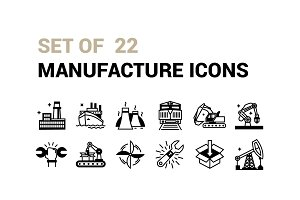 Set of 22 Manufature icons.