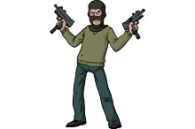 Gunman with an automatic weapon