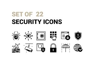 Set of 22 Security Icons.