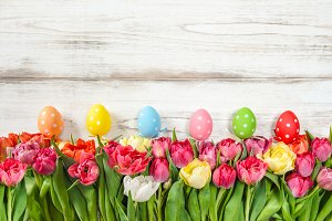 Easter eggs decoration tulips
