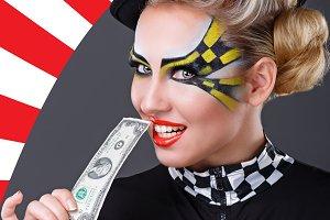 Girl taxi driver biting dollar.