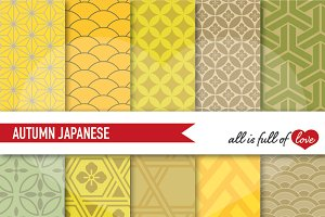 Gold Autumn Japan Illustrations Kit