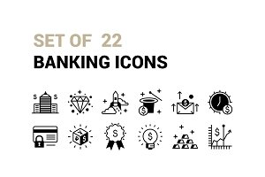 Set of 22 Banking Icons.