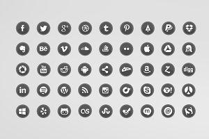 45 Glossy Social Media Icons