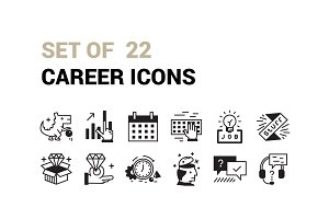 Set Of 22 Career Icons.