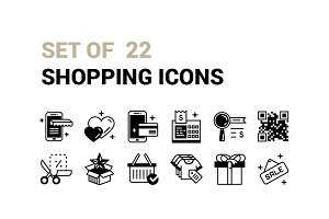 Set of 22 Shopping Icons.