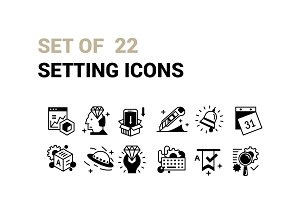 Set of 22 Setting Icons.