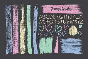 Grunge brushes and alphabet