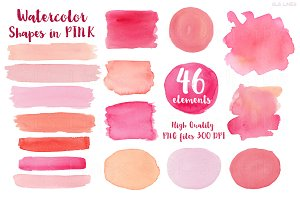 Watercolor Balls & Blotches Pink