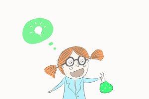 Scientist little girl
