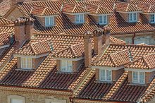 roofs with brick pipes