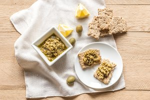Crackers with olive tapenade
