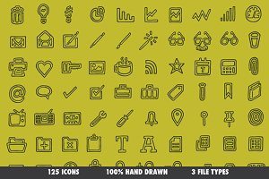 Drawn Icons (Outline) - 125 Vectors