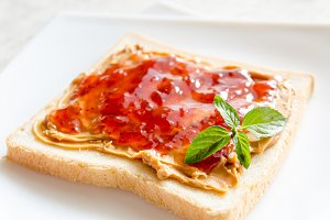 Sandwich with peanut butter and jam