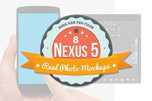 8 Nexus 5 Mockups for Photoshop
