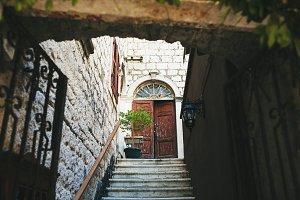Old wooden door in medieval town
