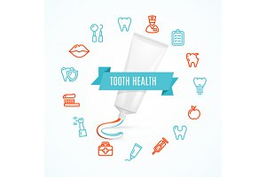 Tooth Health Concept. Vector