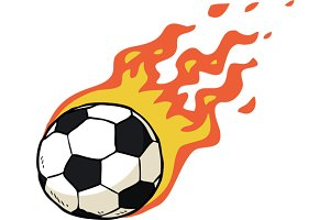 Cartoon doodle fire soccer ball