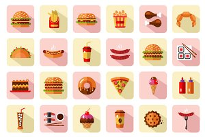 BIG Fast Food Icons Set