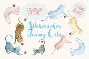 Watercolor Funny Cats
