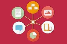 Infographic Web Flat Icons