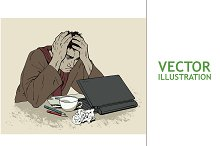 Man in Despair at Computer. Headache