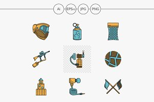 Paintball flat design vector icons