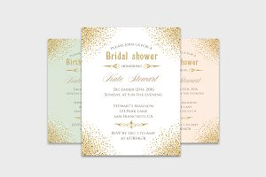 Gold glitter invitation templates