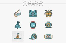 Diving flat design vector icons