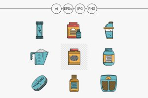 Sport supplements flat design icons