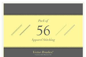 Pack of 56 Vector Stitching Brushes